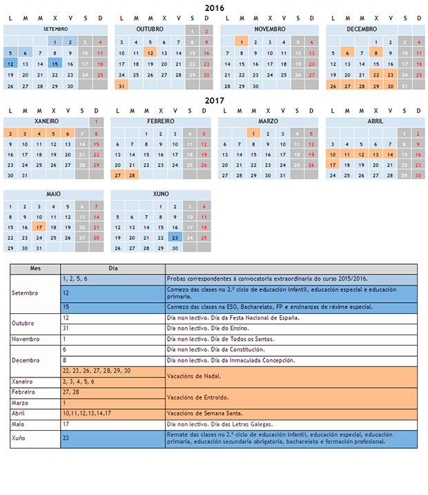 Calendario Escolar En Galicia